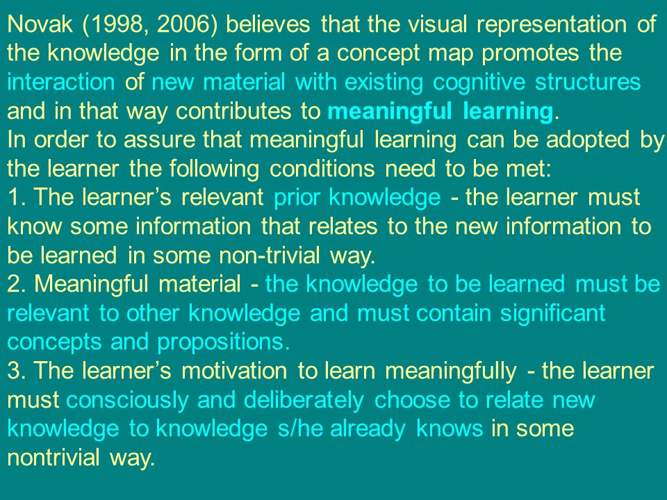 Novak (1998, 2006) believes that the visual representation of the knowledge in the form of a concept map promotes the interaction of new material with
