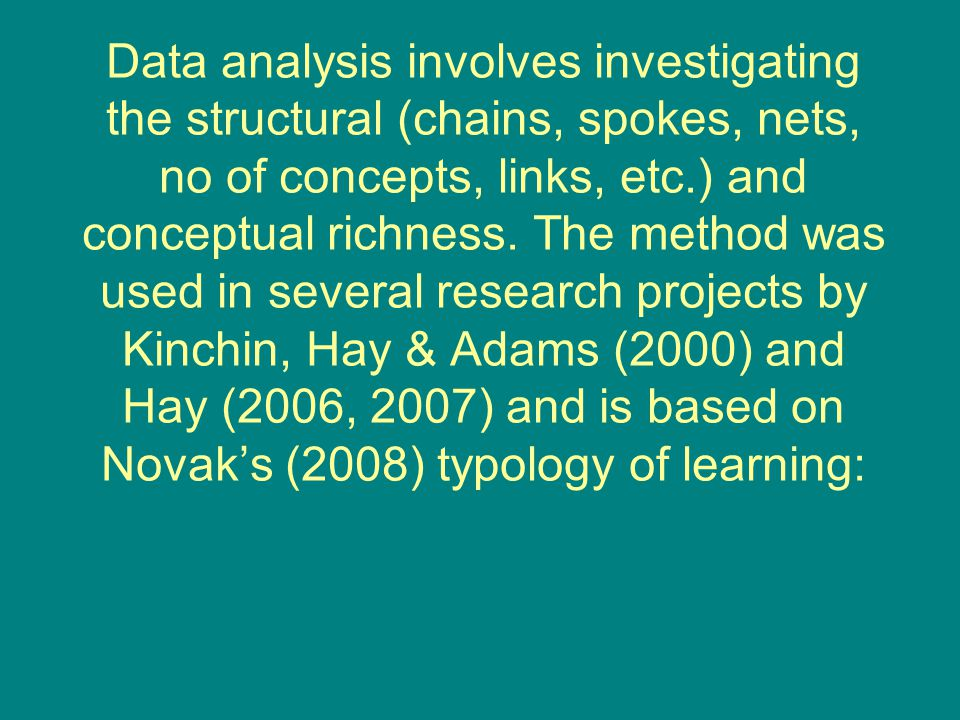 Data analysis involves investigating the structural (chains, spokes, nets, no of concepts, links, etc.) and conceptual richness. The method was used i