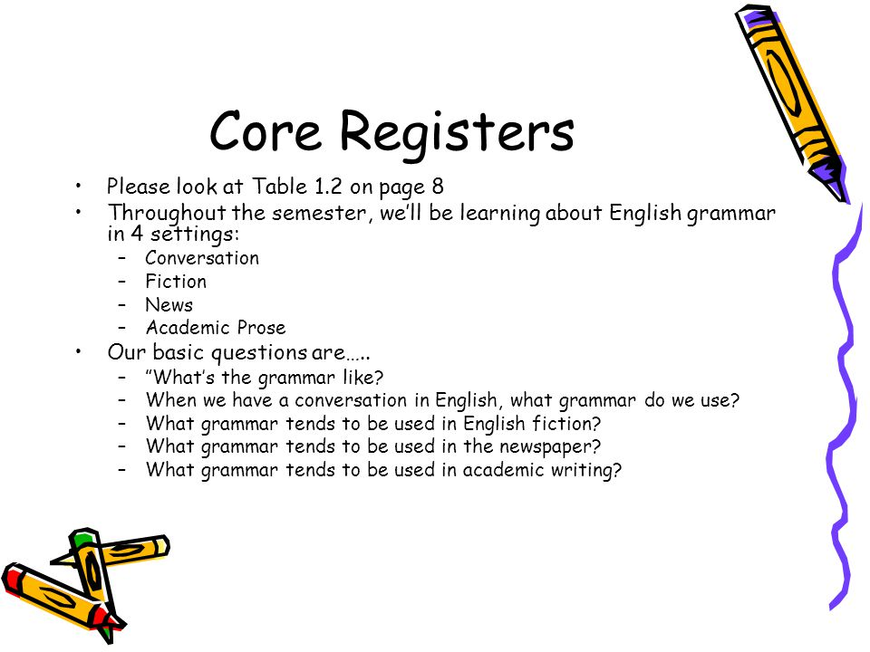 Core Registers Please look at Table 1.2 on page 8 Throughout the semester, we'll be learning about English grammar in 4 settings: –Conversation –Ficti