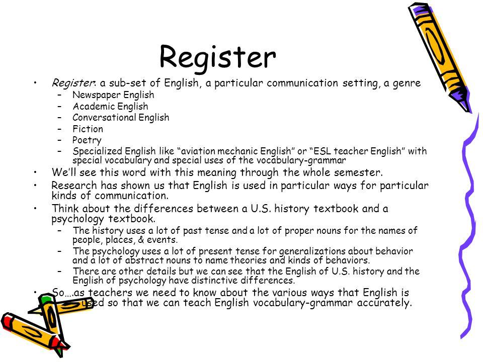 Register Register: a sub-set of English, a particular communication setting, a genre –Newspaper English –Academic English –Conversational English –Fic