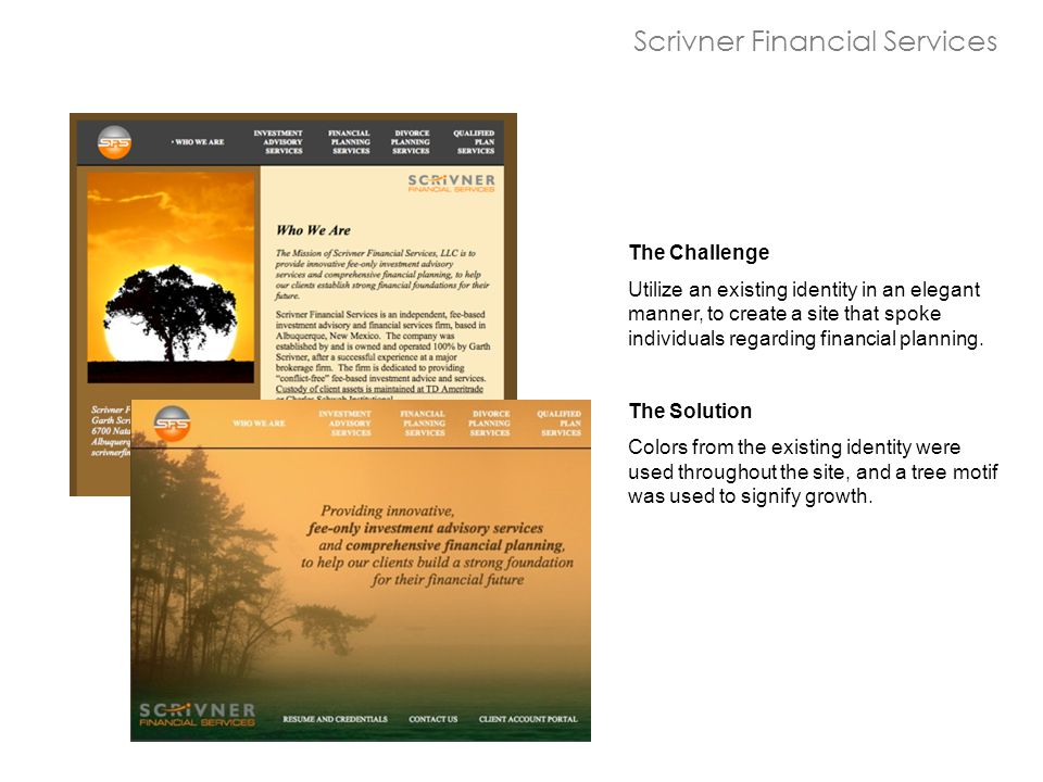 The Challenge Utilize an existing identity in an elegant manner, to create a site that spoke individuals regarding financial planning.