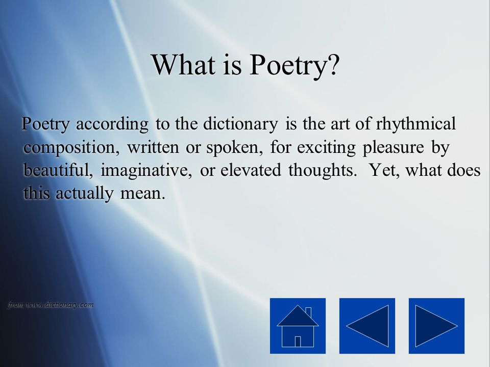 Main Menu What is Poetry Lesson One Conventions Lesson Two Forms Lesson Three Quiz Lesson Four