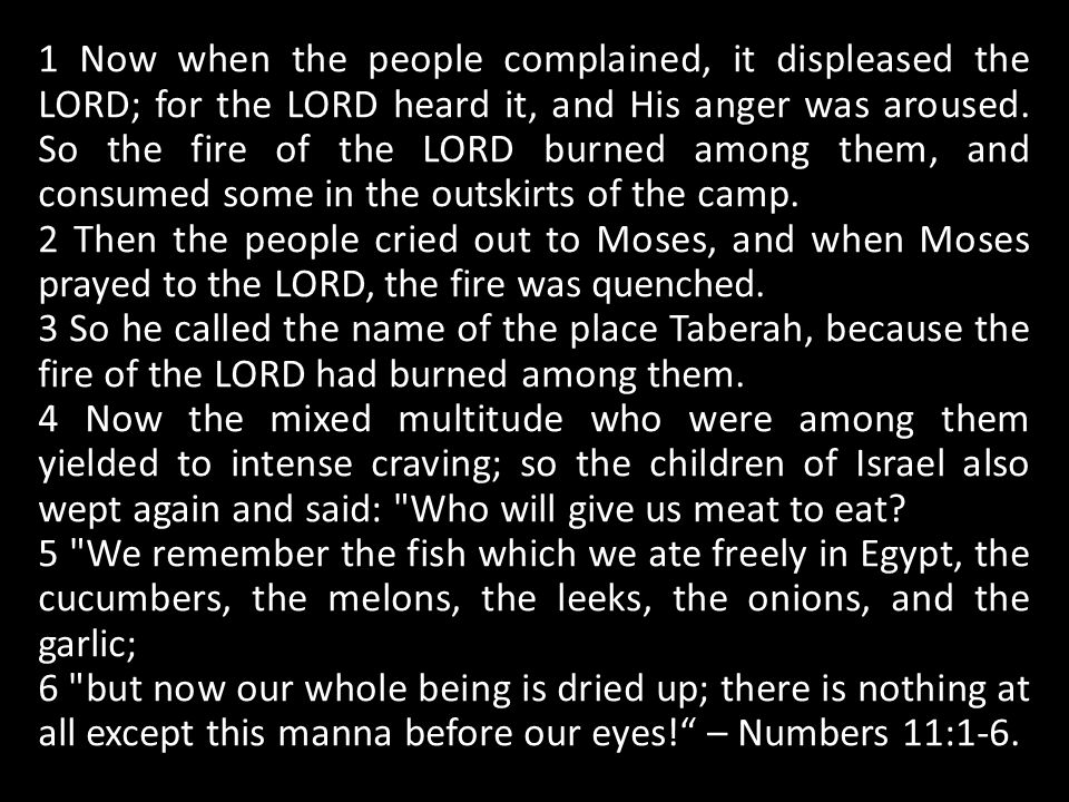 1 Now when the people complained, it displeased the LORD; for the LORD heard it, and His anger was aroused.