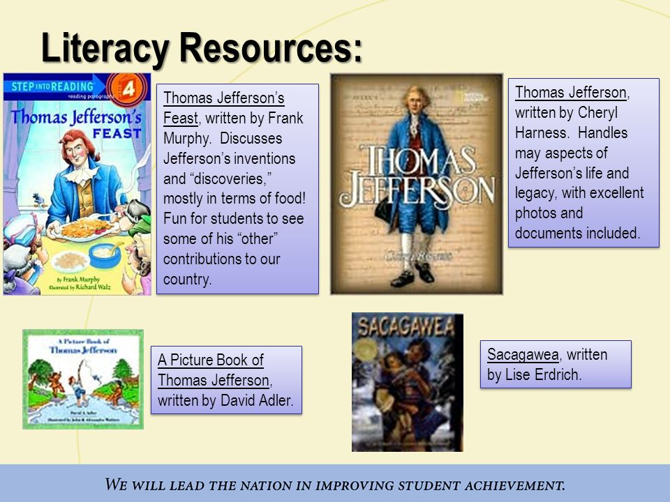 Literacy Resources: Thomas Jefferson's Feast, written by Frank Murphy.