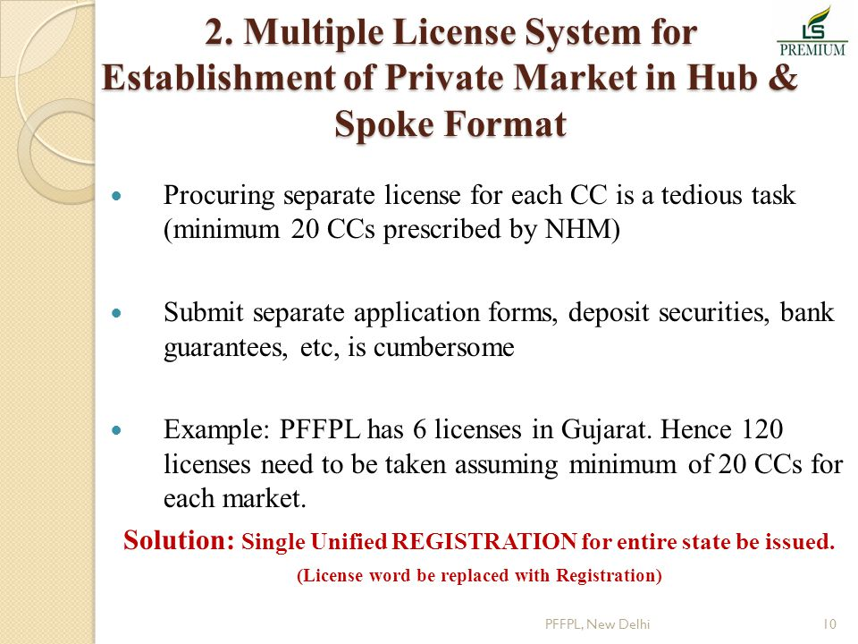 2. Multiple License System for Establishment of Private Market in Hub & Spoke Format Procuring separate license for each CC is a tedious task (minimum