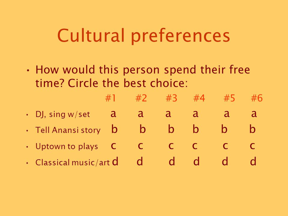 Cultural preferences How would this person spend their free time.