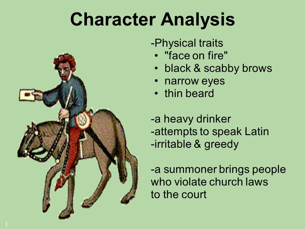 Character Analysis -Physical traits