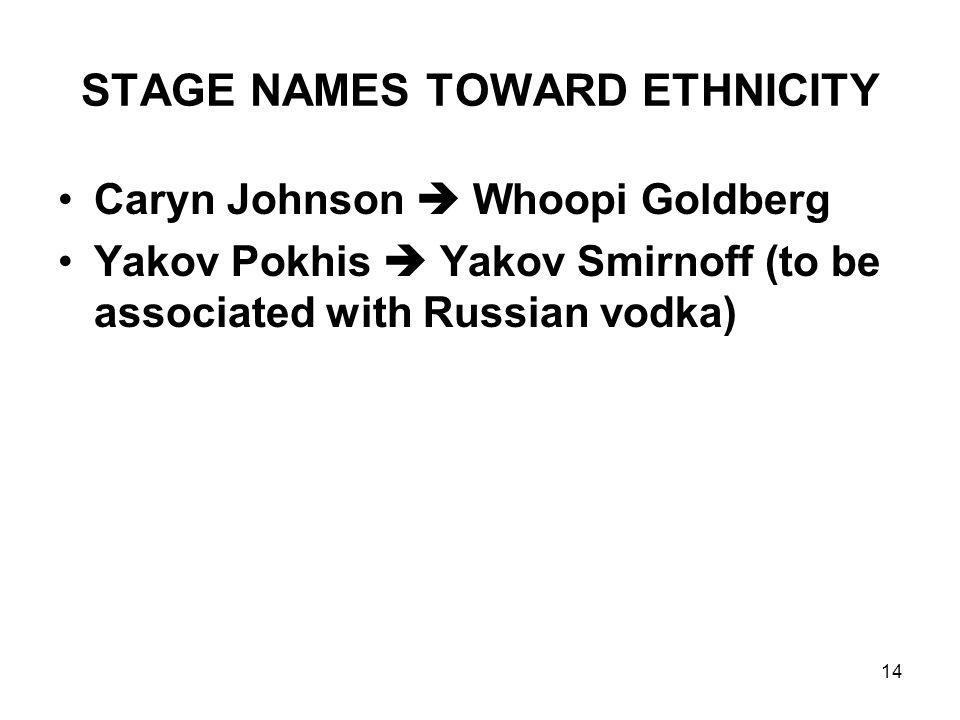 14 STAGE NAMES TOWARD ETHNICITY Caryn Johnson  Whoopi Goldberg Yakov Pokhis  Yakov Smirnoff (to be associated with Russian vodka)