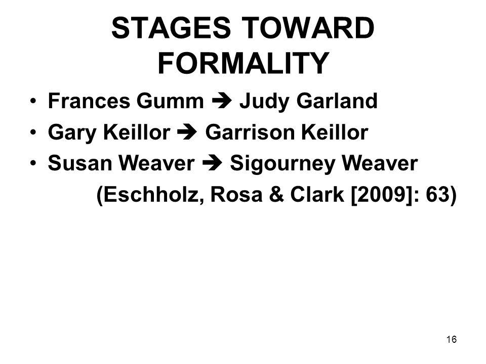 16 STAGES TOWARD FORMALITY Frances Gumm  Judy Garland Gary Keillor  Garrison Keillor Susan Weaver  Sigourney Weaver (Eschholz, Rosa & Clark [2009]: 63)