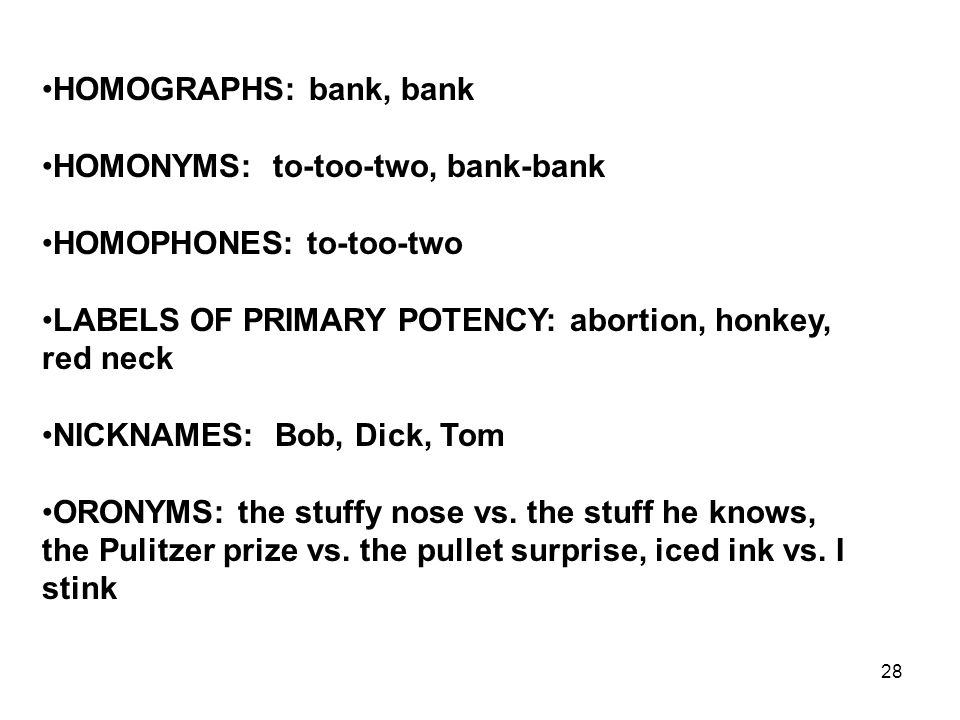 28 HOMOGRAPHS: bank, bank HOMONYMS: to-too-two, bank-bank HOMOPHONES: to-too-two LABELS OF PRIMARY POTENCY: abortion, honkey, red neck NICKNAMES: Bob,