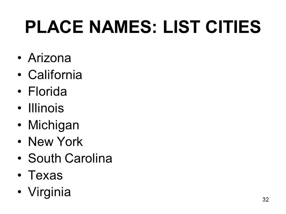 32 PLACE NAMES: LIST CITIES Arizona California Florida Illinois Michigan New York South Carolina Texas Virginia