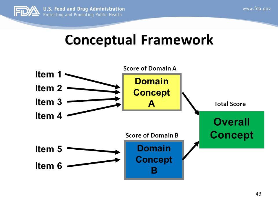 Conceptual Framework 43 Item 1 Item 2 Item 3 Item 4 Item 5 Item 6 Domain Concept B Domain Concept A Overall Concept Score of Domain A Score of Domain B Total Score