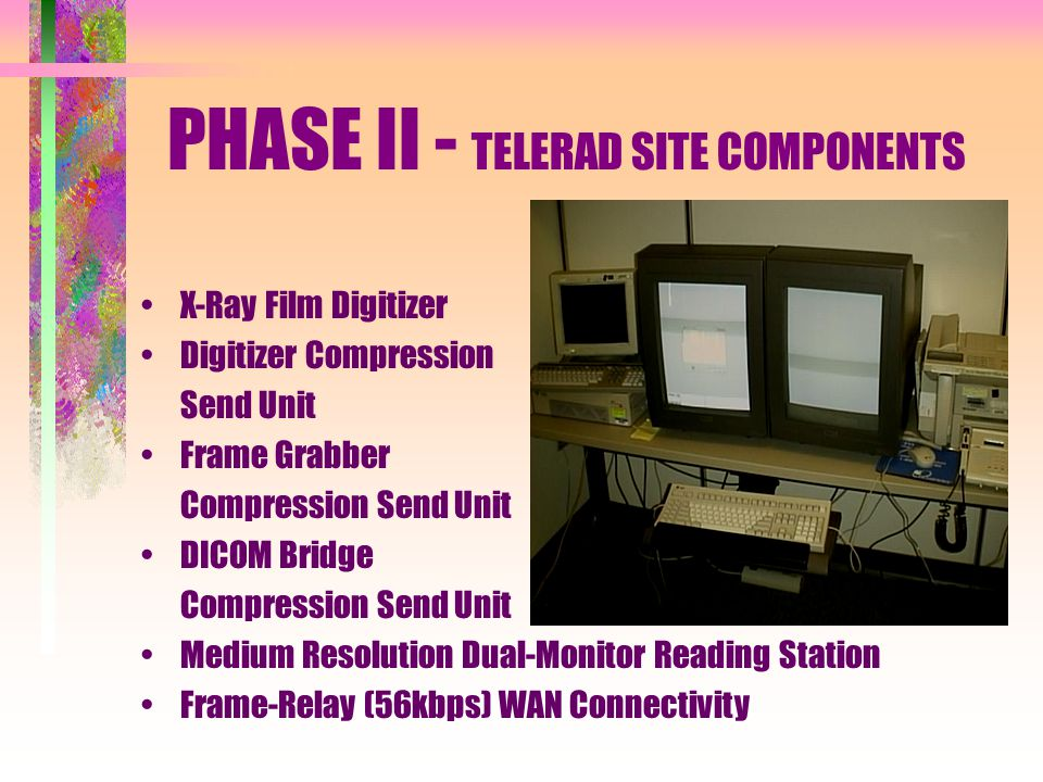 PHASE II - TELERAD SITE COMPONENTS X-Ray Film Digitizer Digitizer Compression Send Unit Frame Grabber Compression Send Unit DICOM Bridge Compression Send Unit Medium Resolution Dual-Monitor Reading Station Frame-Relay (56kbps) WAN Connectivity