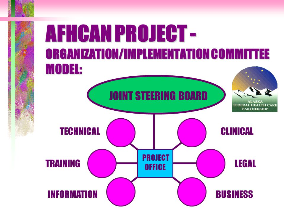 AFHCAN PROJECT - ORGANIZATION/IMPLEMENTATION COMMITTEE MODEL: JOINT STEERING BOARD TECHNICAL TRAINING PROJECT OFFICE INFORMATION CLINICAL LEGAL BUSINESS