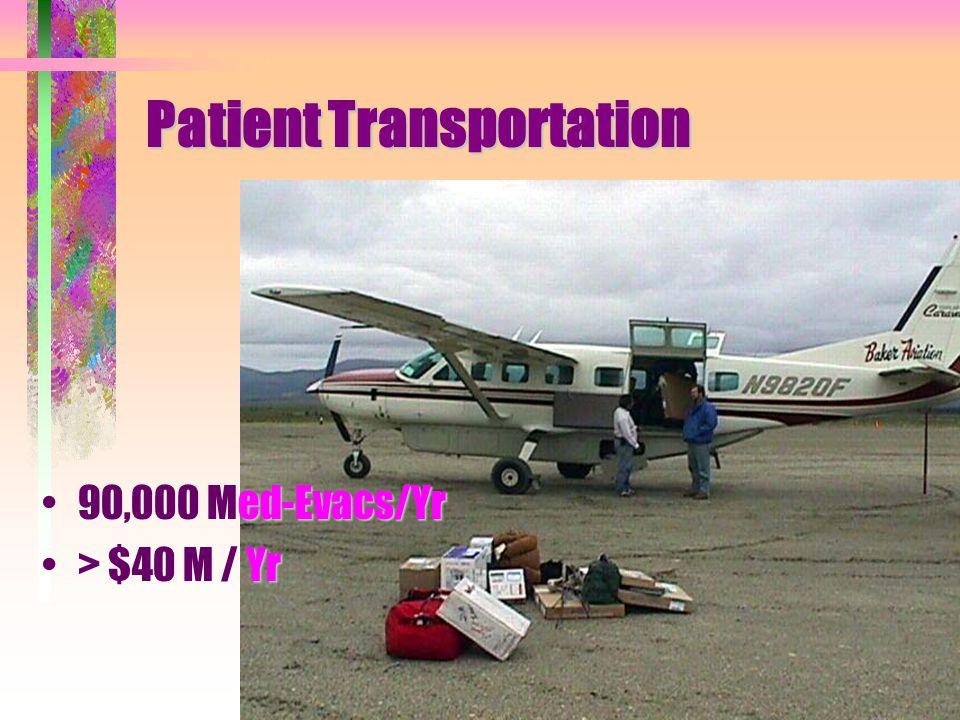 Patient Transportation ed-Evacs/Yr90,000 Med-Evacs/Yr Yr> $40 M / Yr