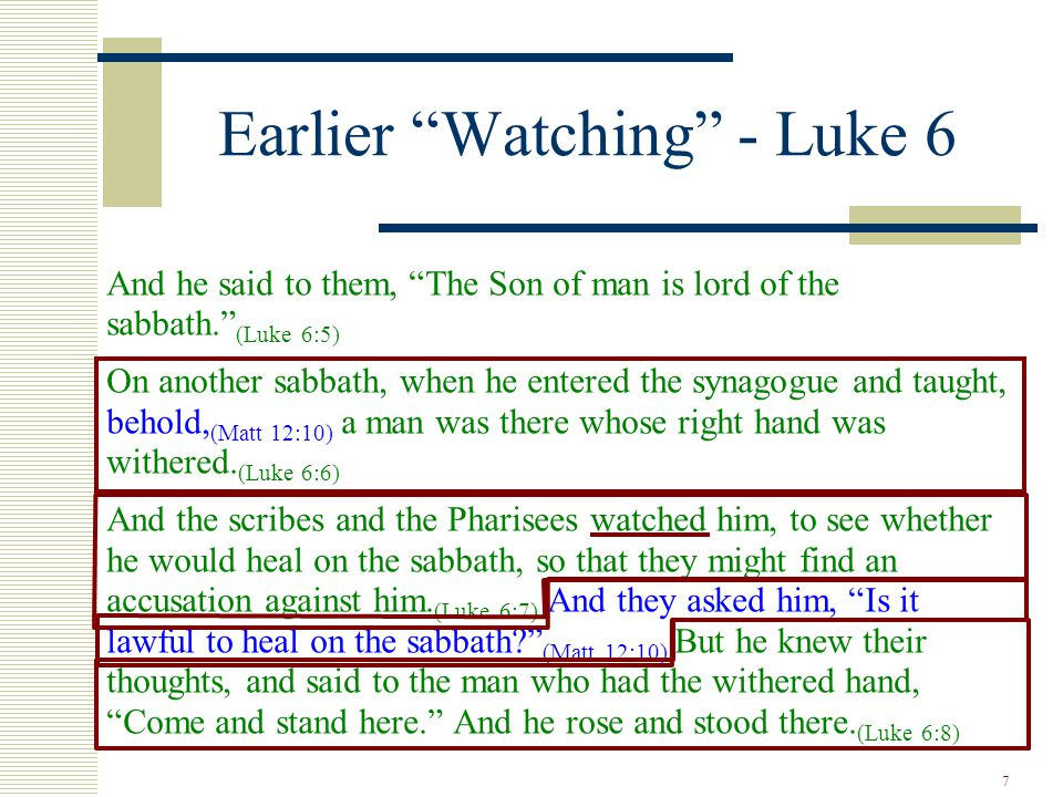 """7 Earlier """"Watching"""" - Luke 6 And he said to them, """"The Son of man is lord of the sabbath."""" (Luke 6:5) On another sabbath, when he entered the synagog"""