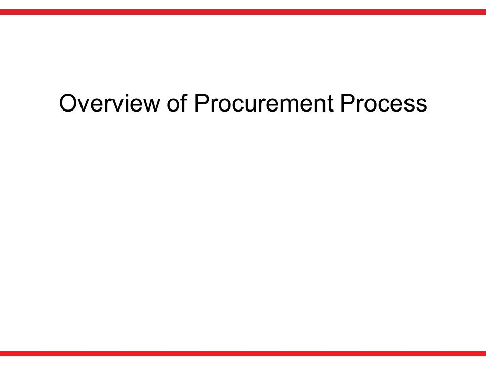 Overview of Procurement Process