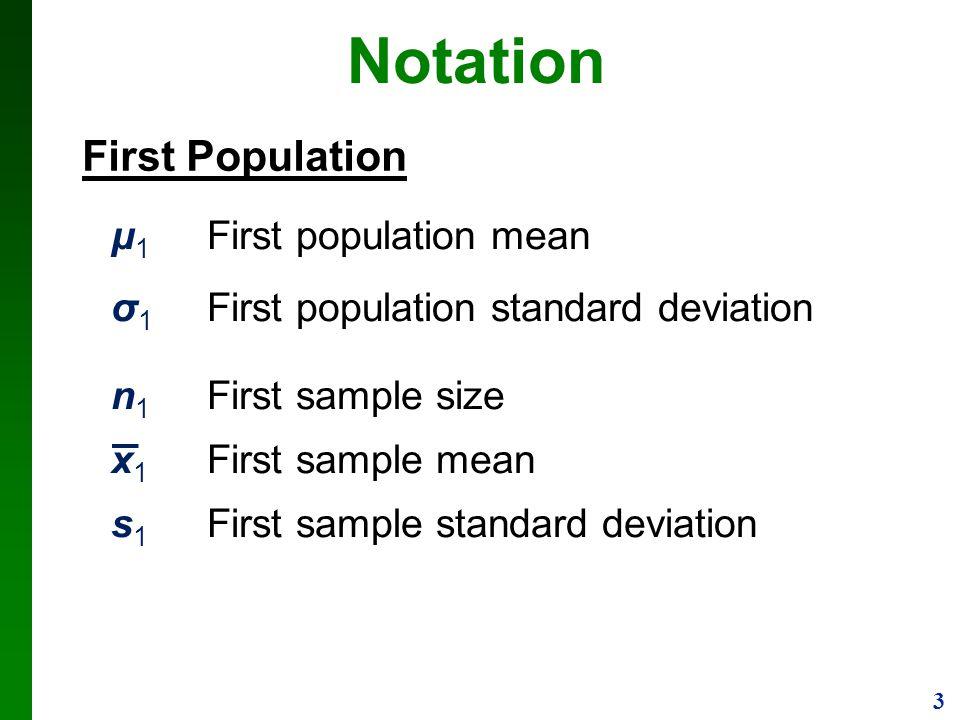 3 Notation μ 1 First population mean σ 1 First population standard deviation n 1 First sample size x 1 First sample mean s 1 First sample standard dev