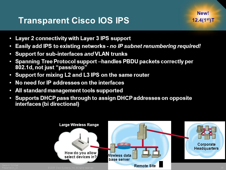 © 2005 Cisco Systems, Inc. All rights reserved. Session Number Presentation_ID 35 Remote Site Corporate Headquarters How do you allow select devices i