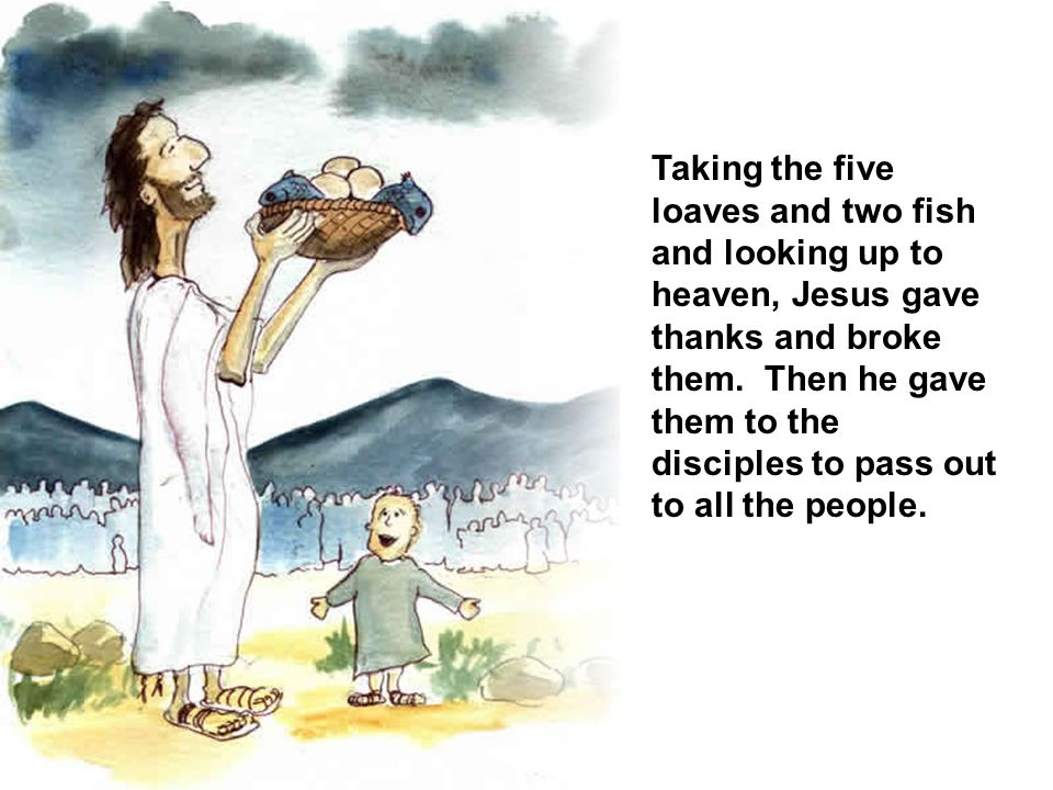 Taking the five loaves and two fish and looking up to heaven, Jesus gave thanks and broke them.