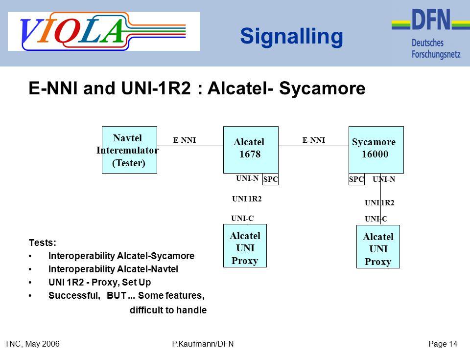 Page 14TNC, May 2006 P.Kaufmann/DFN Signalling SPC E-NNI Alcatel 1678 Alcatel UNI Proxy E-NNI UNI-C Sycamore 16000 Navtel Interemulator (Tester) Alcatel UNI Proxy UNI 1R2 UNI-N UNI 1R2 UNI-C UNI-NSPC Tests: Interoperability Alcatel-Sycamore Interoperability Alcatel-Navtel UNI 1R2 - Proxy, Set Up Successful, BUT...