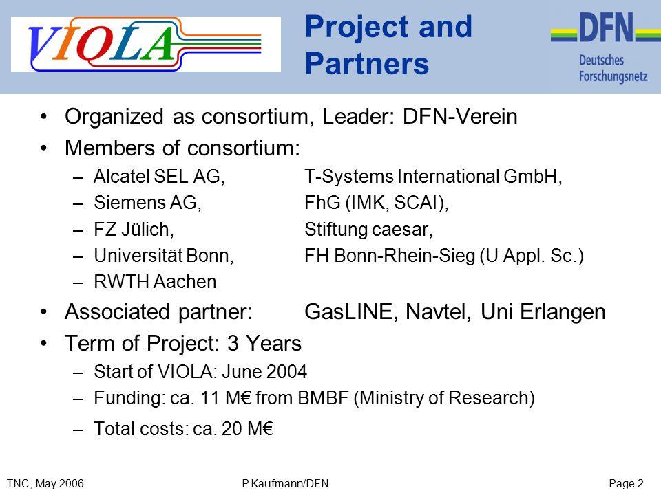 Page 2TNC, May 2006 P.Kaufmann/DFN Project and Partners Organized as consortium, Leader: DFN-Verein Members of consortium: –Alcatel SEL AG, T-Systems International GmbH, –Siemens AG, FhG (IMK, SCAI), –FZ Jülich, Stiftung caesar, –Universität Bonn, FH Bonn-Rhein-Sieg (U Appl.