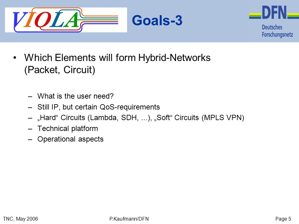 Page 5TNC, May 2006 P.Kaufmann/DFN Goals-3 Which Elements will form Hybrid-Networks (Packet, Circuit) –What is the user need.