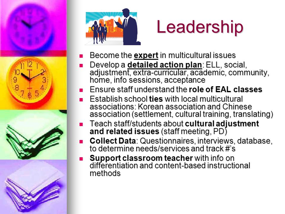 Leadership Leadership Become the expert in multicultural issues Become the expert in multicultural issues Develop a detailed action plan: ELL, social, adjustment, extra-curricular, academic, community, home, info sessions, acceptance Develop a detailed action plan: ELL, social, adjustment, extra-curricular, academic, community, home, info sessions, acceptance Ensure staff understand the role of EAL classes Ensure staff understand the role of EAL classes Establish school ties with local multicultural associations: Korean association and Chinese association (settlement, cultural training, translating) Establish school ties with local multicultural associations: Korean association and Chinese association (settlement, cultural training, translating) Teach staff/students about cultural adjustment and related issues (staff meeting, PD) Teach staff/students about cultural adjustment and related issues (staff meeting, PD) Collect Data: Questionnaires, interviews, database, to determine needs/services and track #'s Collect Data: Questionnaires, interviews, database, to determine needs/services and track #'s Support classroom teacher with info on differentiation and content-based instructional methods Support classroom teacher with info on differentiation and content-based instructional methods