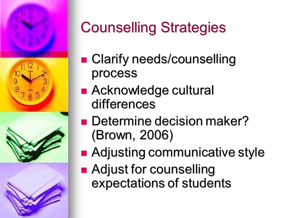 Counselling Strategies Clarify needs/counselling process Clarify needs/counselling process Acknowledge cultural differences Acknowledge cultural differences Determine decision maker.
