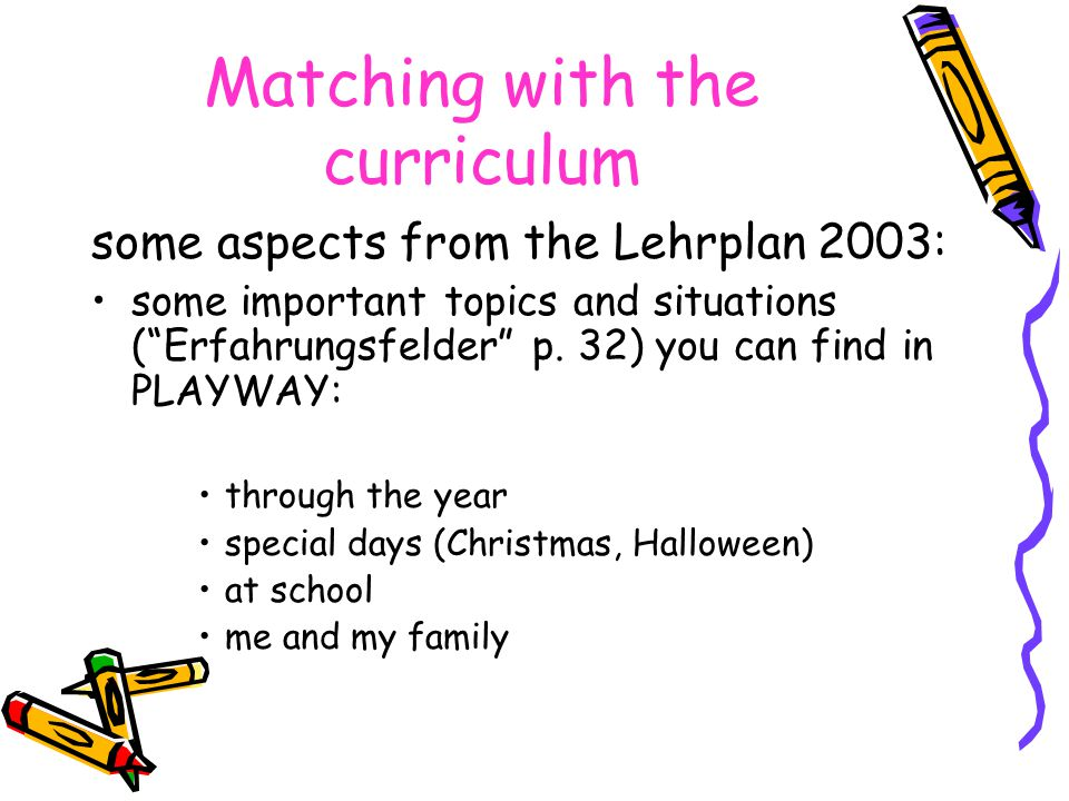 Matching with the curriculum some aspects from the Lehrplan 2003: some important topics and situations ( Erfahrungsfelder p.