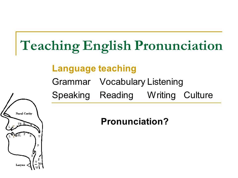 Teaching English Pronunciation Language teaching Grammar VocabularyListening SpeakingReadingWriting Culture Pronunciation