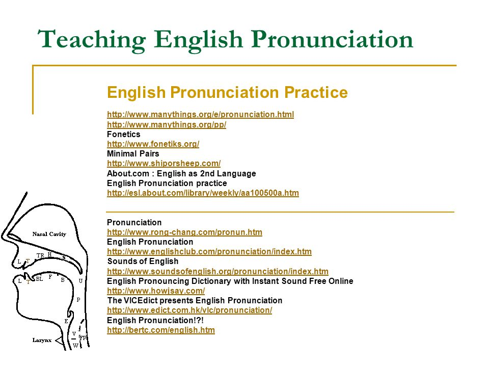 Teaching English Pronunciation English Pronunciation Practice http://www.manythings.org/e/pronunciation.html http://www.manythings.org/pp/ Fonetics ht