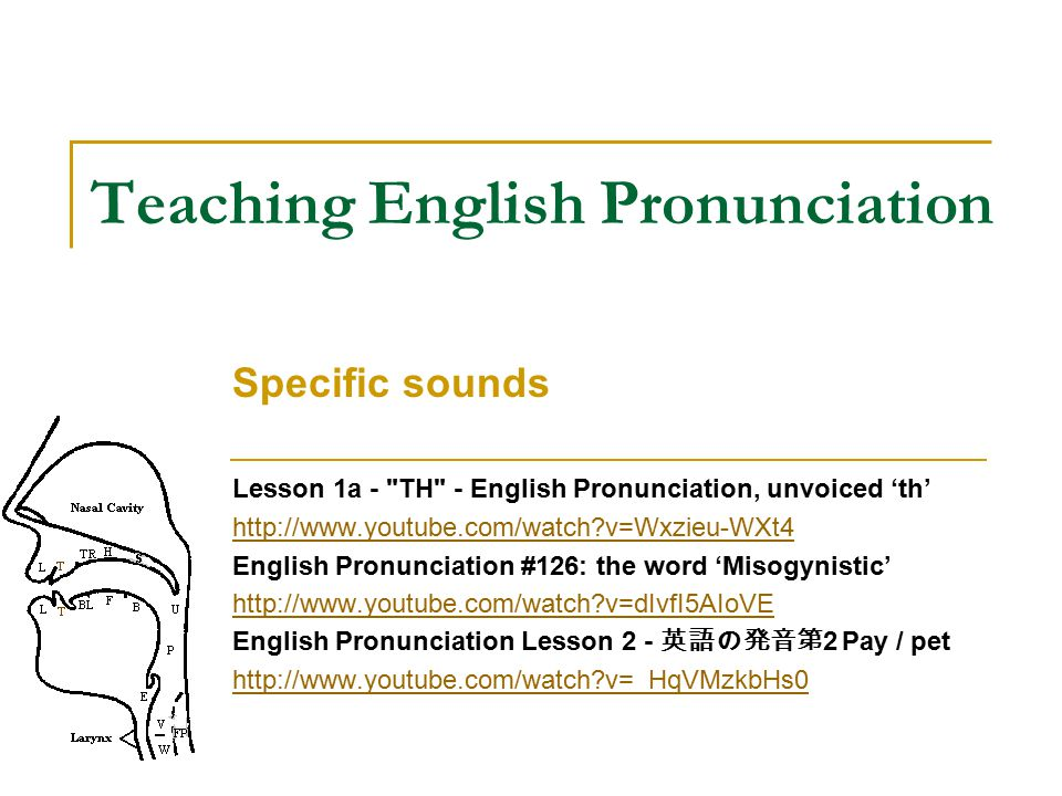 Teaching English Pronunciation Specific sounds Lesson 1a -