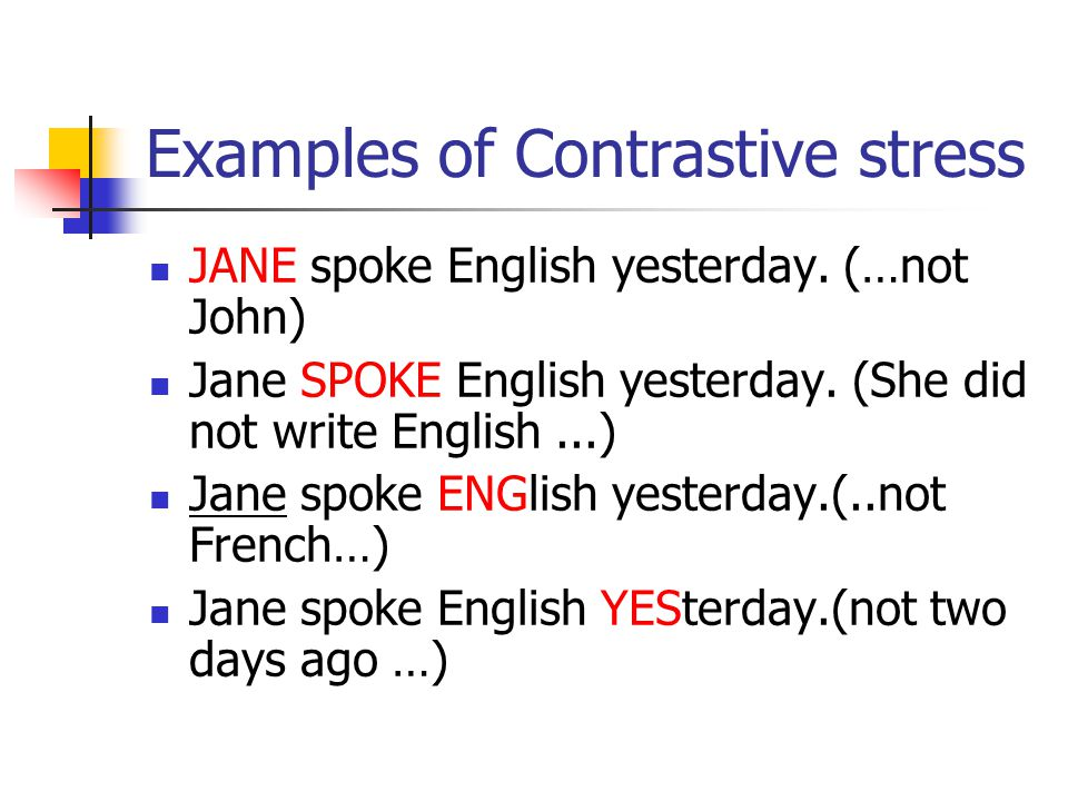 Examples of Contrastive stress JANE spoke English yesterday.
