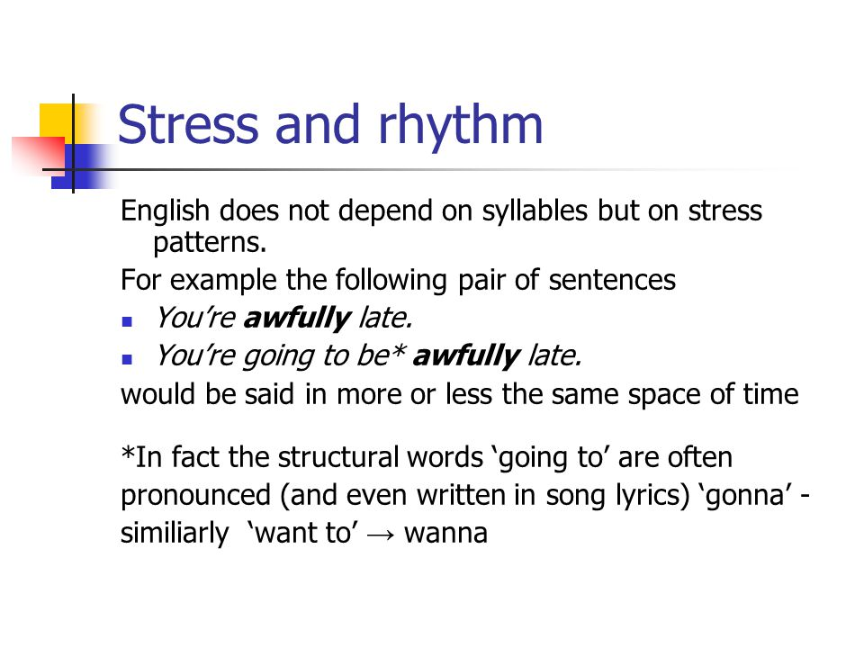 Stress and rhythm English does not depend on syllables but on stress patterns.
