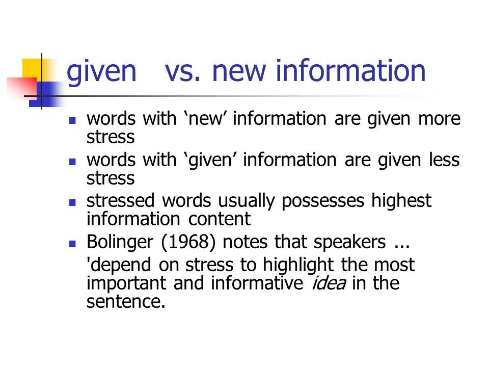 given vs.