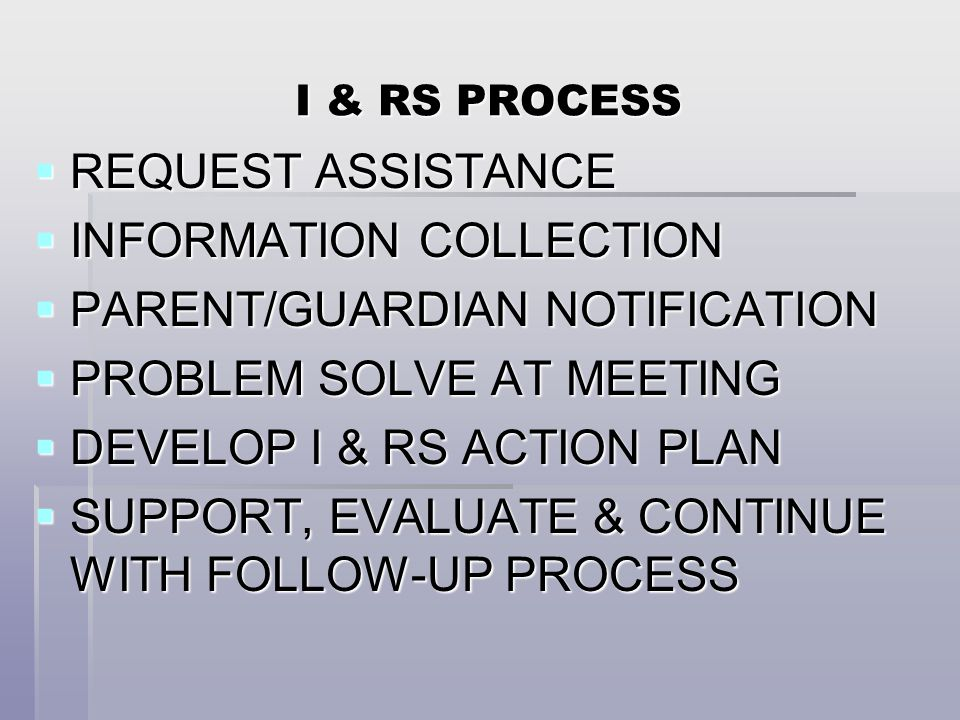 I & RS PROCESS  REQUEST ASSISTANCE  INFORMATION COLLECTION  PARENT/GUARDIAN NOTIFICATION  PROBLEM SOLVE AT MEETING  DEVELOP I & RS ACTION PLAN  SUPPORT, EVALUATE & CONTINUE WITH FOLLOW-UP PROCESS