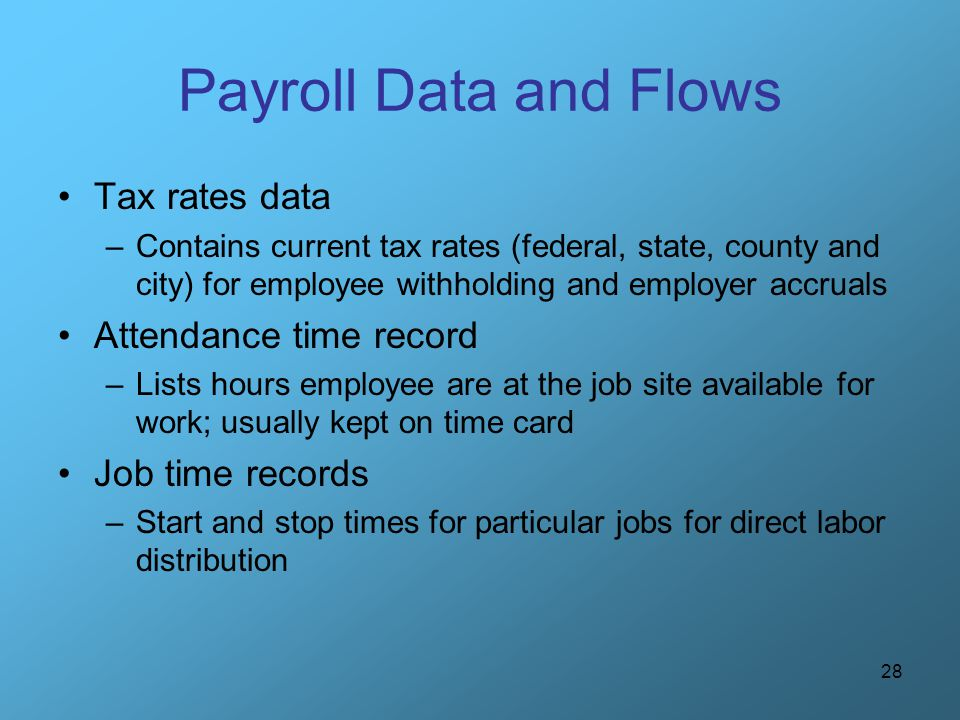 28 Payroll Data and Flows Tax rates data –Contains current tax rates (federal, state, county and city) for employee withholding and employer accruals