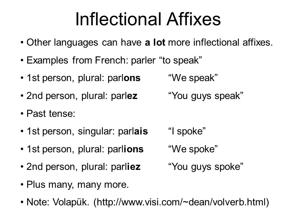 Inflectional Affixes Other languages can have a lot more inflectional affixes.