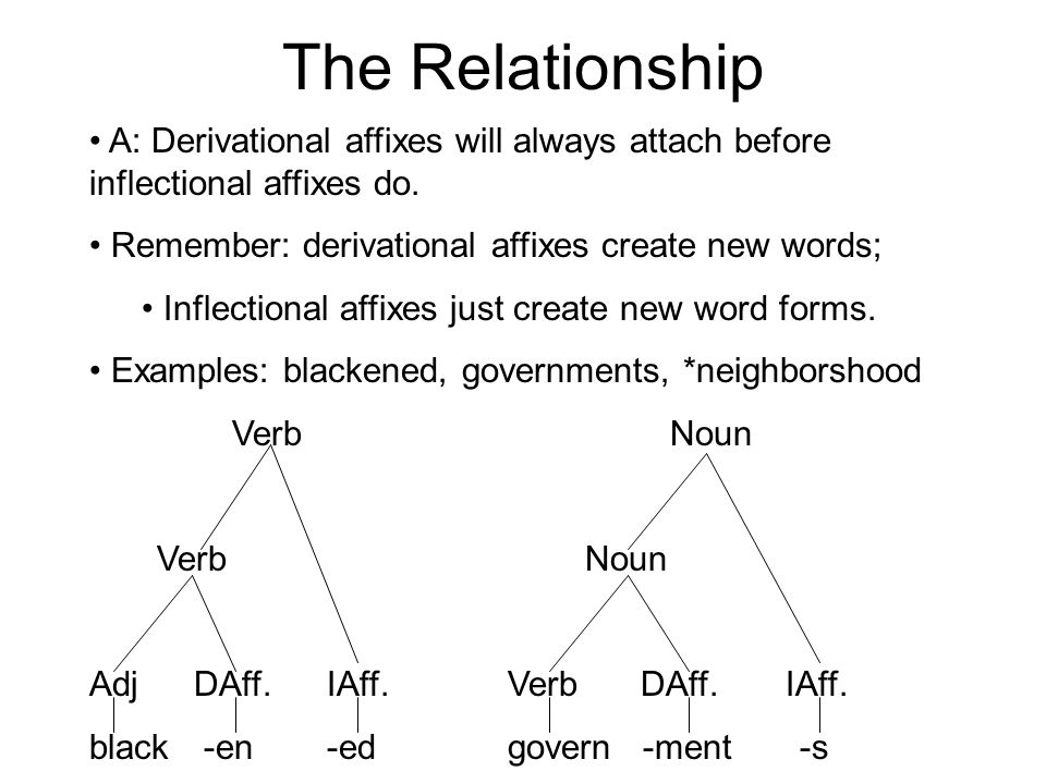 The Relationship A: Derivational affixes will always attach before inflectional affixes do.