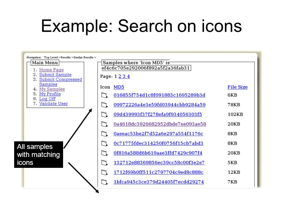 Example: Search on icons All samples with matching icons