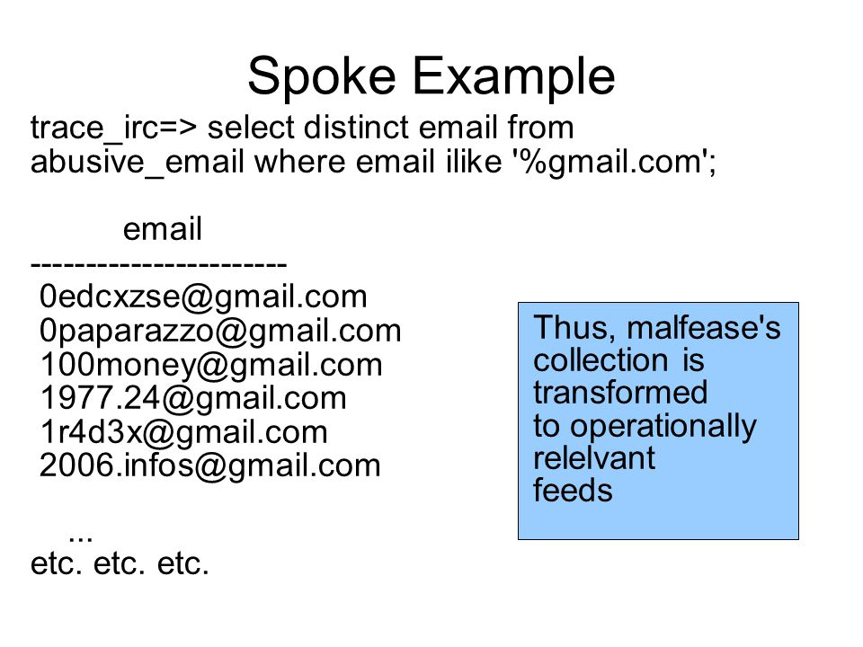 Spoke Example trace_irc=> select distinct email from abusive_email where email ilike %gmail.com ; email ----------------------- 0edcxzse@gmail.com 0paparazzo@gmail.com 100money@gmail.com 1977.24@gmail.com 1r4d3x@gmail.com 2006.infos@gmail.com...
