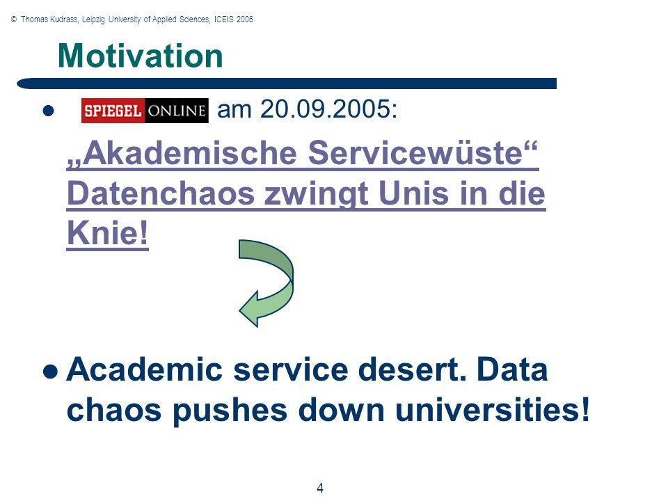 """© Thomas Kudrass, Leipzig University of Applied Sciences, ICEIS 2006 4 4 4 Motivation am 20.09.2005: """"Akademische Servicewüste Datenchaos zwingt Unis in die Knie."""