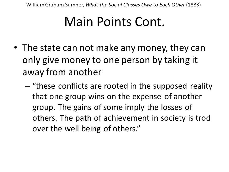 Main Points Cont.