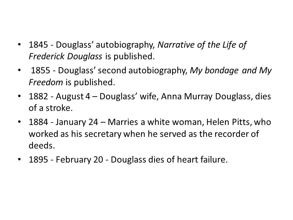 1845 - Douglass' autobiography, Narrative of the Life of Frederick Douglass is published.
