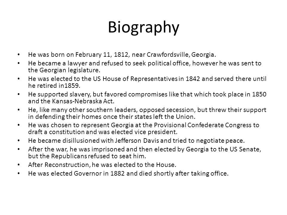 Biography He was born on February 11, 1812, near Crawfordsville, Georgia.