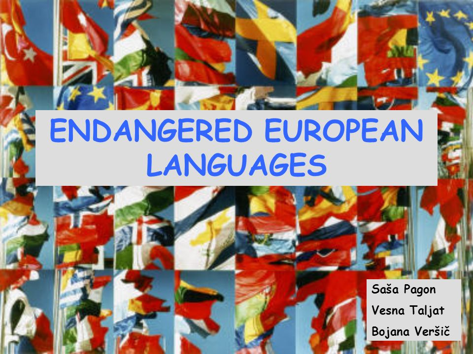 ENDANGERED EUROPEAN LANGUAGES Saša Pagon Vesna Taljat Bojana Veršič