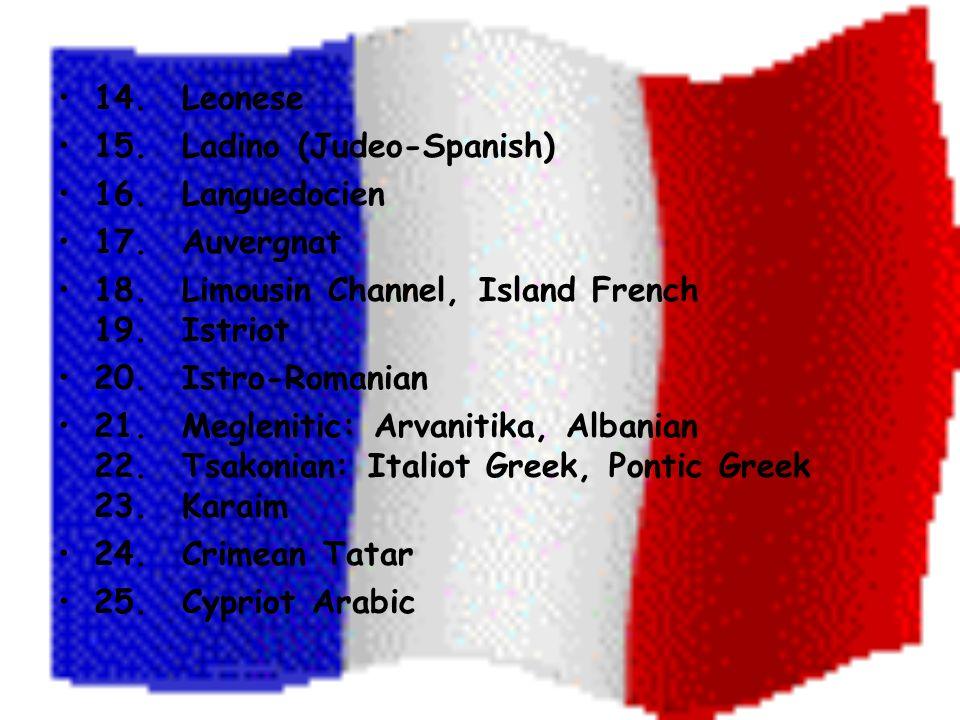 14. Leonese 15. Ladino (Judeo-Spanish) 16. Languedocien 17.