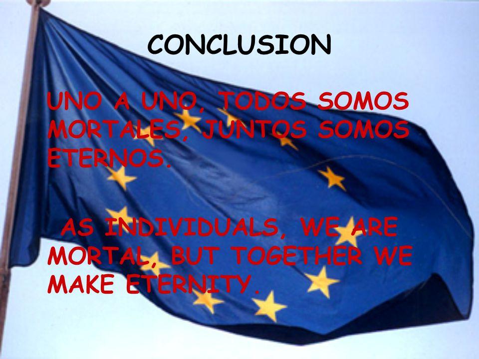 CONCLUSION UNO A UNO, TODOS SOMOS MORTALES, JUNTOS SOMOS ETERNOS.