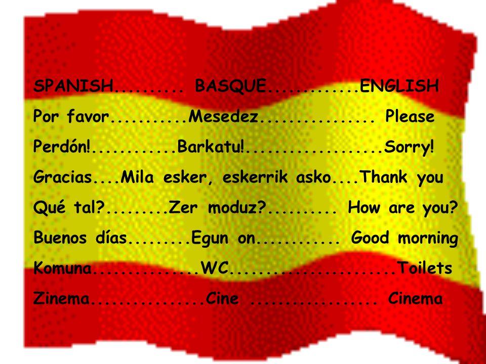 SPANISH.......... BASQUE.............ENGLISH Por favor...........Mesedez................